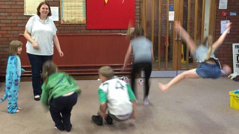 Kids jump for Jesus